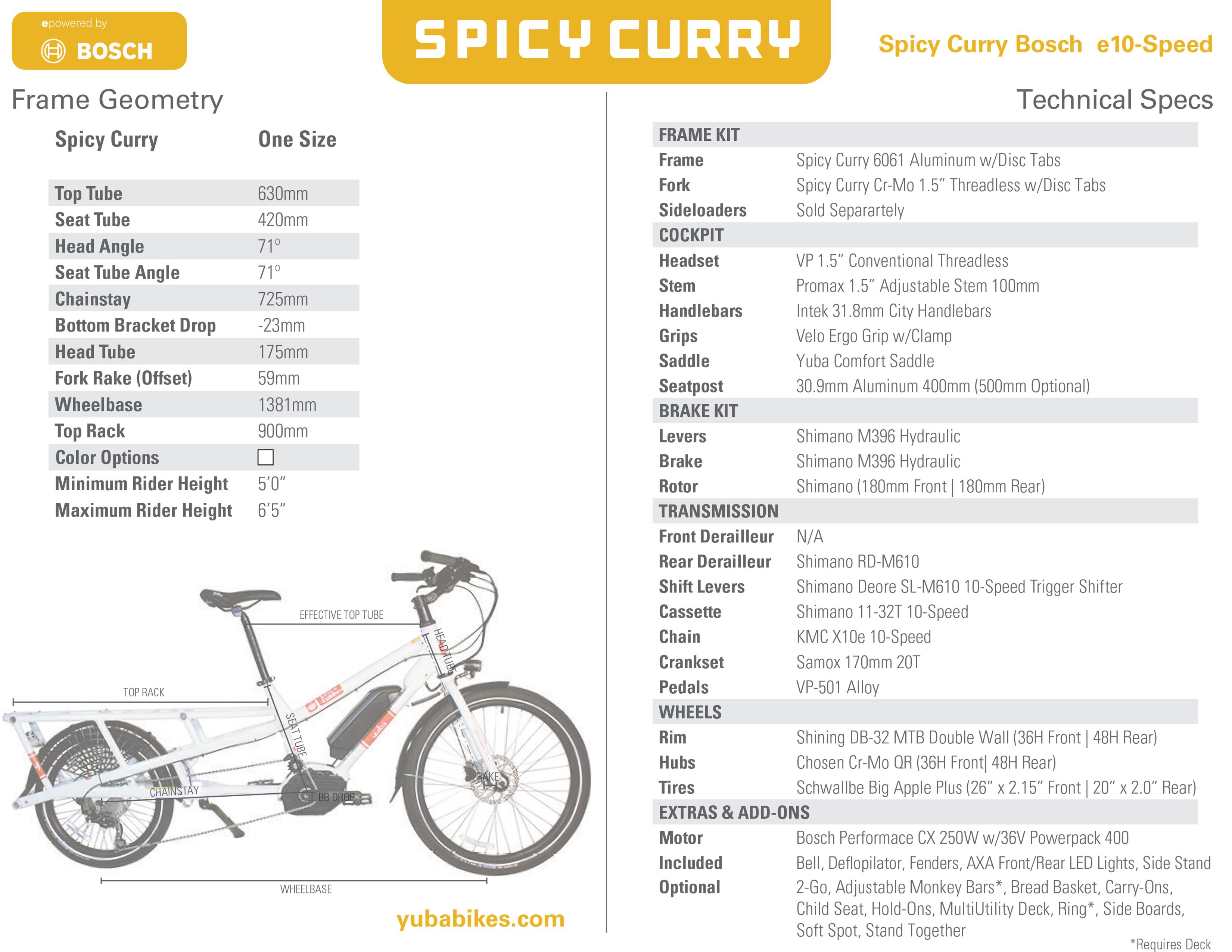 Spicy Curry Bosch Electric Yuba Cargo Bike | Yuba Electric Cargo Bikes