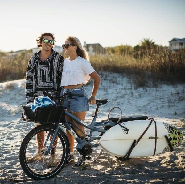 Yuba Cargo Bikes Surfboard Rack Spicy Curry Beach Couple